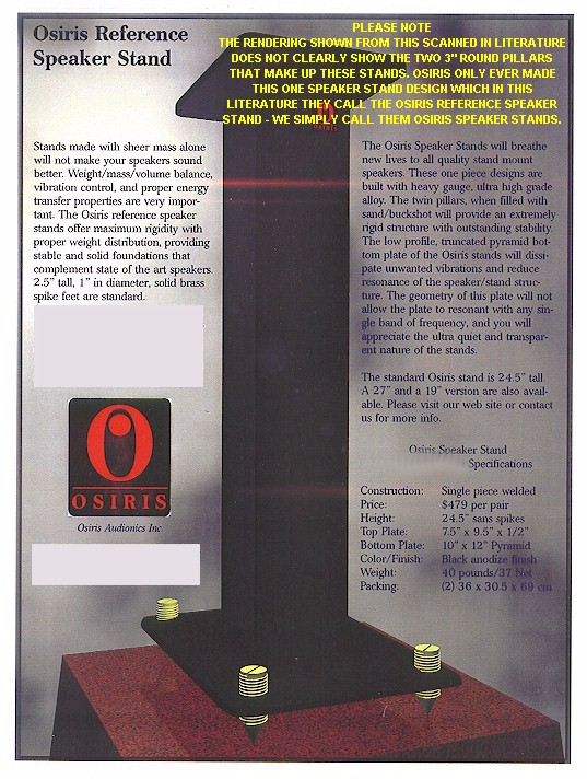 [A SCANNED IN IMAGE OF THE OSIRIS SPEAKER STAND LITERATURE]